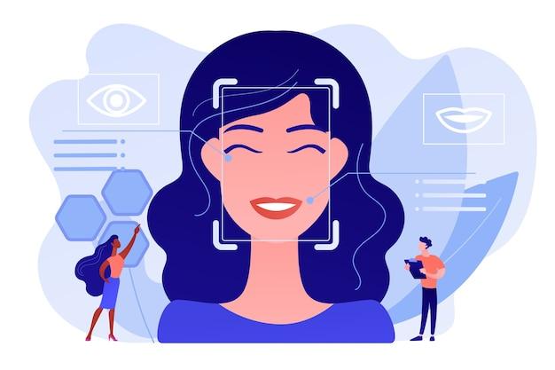 Minuscole persone scienziati identificano le emozioni delle donne dalla voce e dal viso. rilevazione delle emozioni, riconoscimento dello stato emotivo, concetto di tecnologia dei sensori emo Vettore gratuito