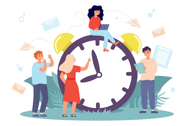 Tiny people sitting on huge clock Free Vector