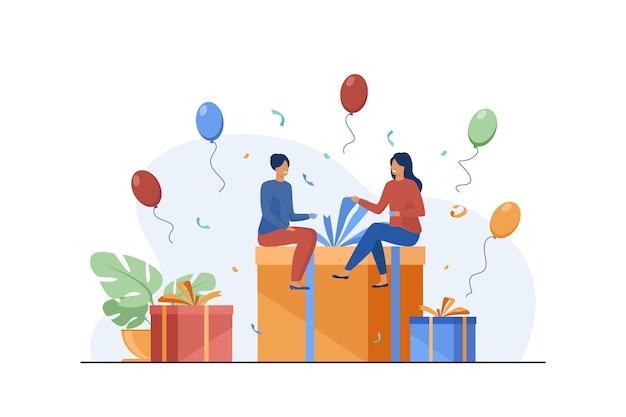 선물 상자에 앉아 작은 사람들. 풍선, 재미, 생일 파티 평면 그림. 무료 벡터