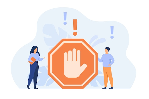 Tiny people standing near prohibited gesture isolated flat illustration. Free Vector
