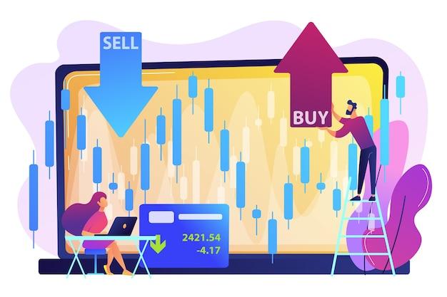 グラフチャートを備えたラップトップの小さな人々の株トレーダーは、株を売買します。株式市場指数、証券会社、証券取引所データの概念。 無料ベクター