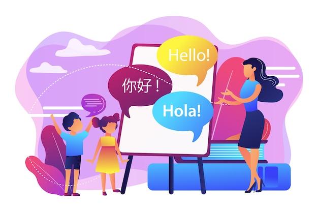 Маленькие люди, учителя и дети в лагере изучают английский, испанский и китайский языки. Бесплатные векторы