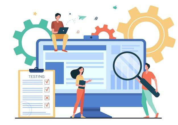 소프트웨어에서 품질 보증을 테스트하는 작은 사람들은 평면 벡터 일러스트 레이 션에 고립. 하드웨어 장치의 버그를 수정하는 만화 캐릭터. 애플리케이션 테스트 및 it 서비스 개념 무료 벡터