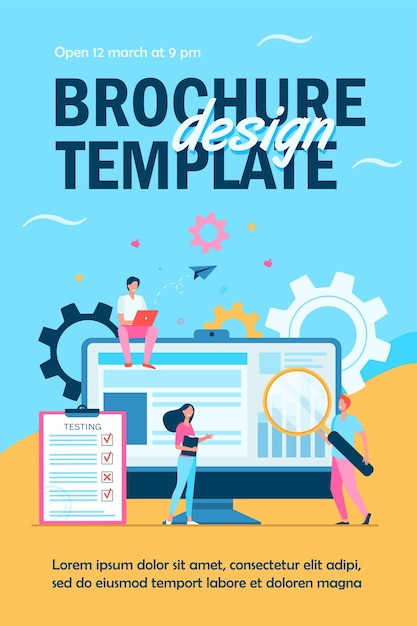 Tiny people testing quality assurance in software isolated flyer template Free Vector