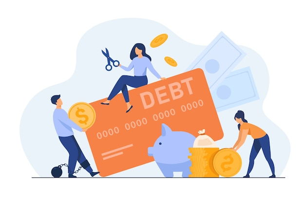 Tiny people in trap of credit card debt flat illustration. Free Vector