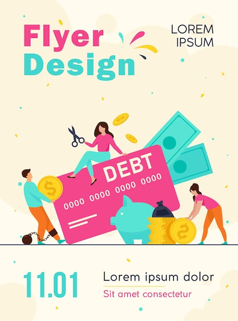 Tiny people in trap of credit card debt flyer template Free Vector