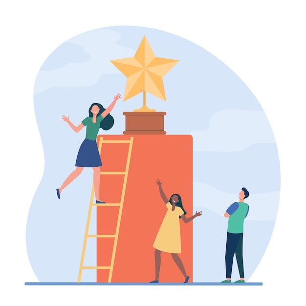 Tiny people trying to get golden star. ladder, award, reward flat vector illustration. competition and acknowledgement Free Vector