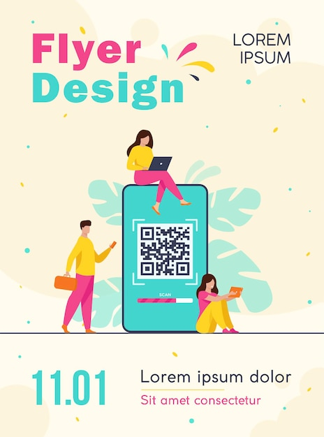 Tiny people using qr code for online payment isolated flyer template Free Vector