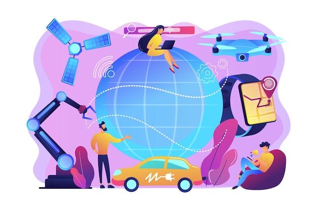 Persone minuscole che utilizzano innovazioni tecnologiche, dispositivi digitali. rivoluzione tecnologica, innovazioni scientifiche moderne, concetto di progresso tecnologico. illustrazione isolata viola vibrante brillante Vettore gratuito