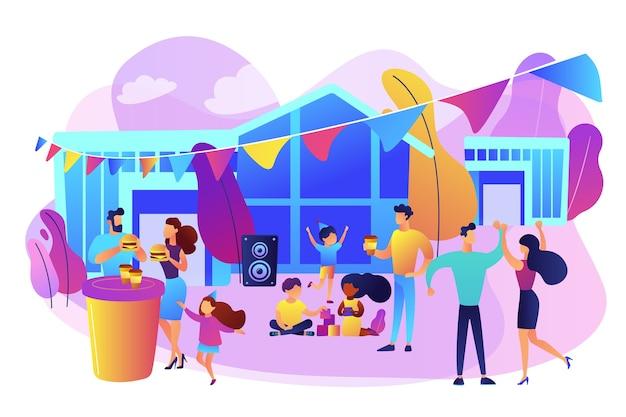 ファーストフードを食べて踊り、野外フェスティバルを楽しんでいる子供を持つ小さな人々。ストリートパーティー、ピザシティフェスト、リブフードフェスティバルのコンセプト。 無料ベクター