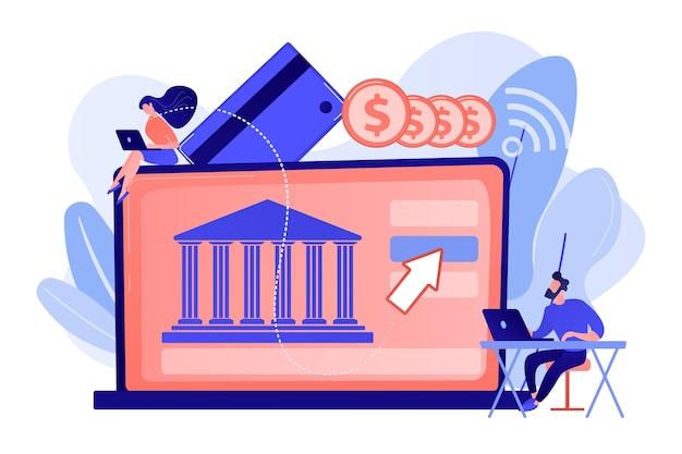 Крошечные люди с ноутбуком и финансовая цифровая трансформация. открытая банковская платформа, система онлайн-банкинга, иллюстрация концепции цифровой трансформации финансов Бесплатные векторы
