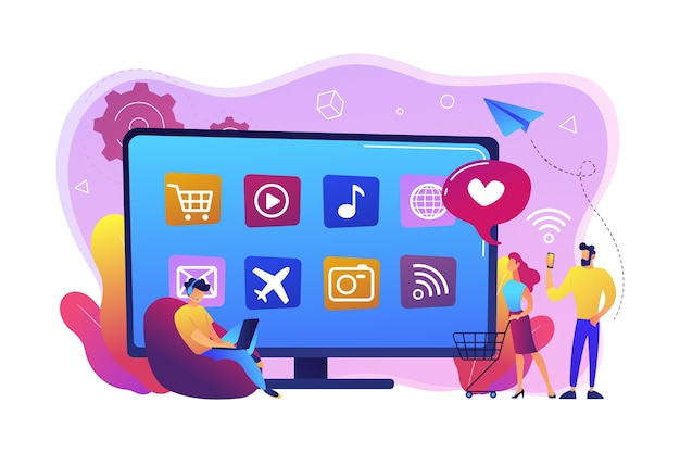 ノートパソコンを持っている小さな人々、アプリ付きのスマートテレビを使用したショッピングカート。スマートtvアプリケーション、スマートtvマーケットプレイス、テレビアプリ開発コンセプト。明るく鮮やかな紫の孤立したイラスト 無料ベクター