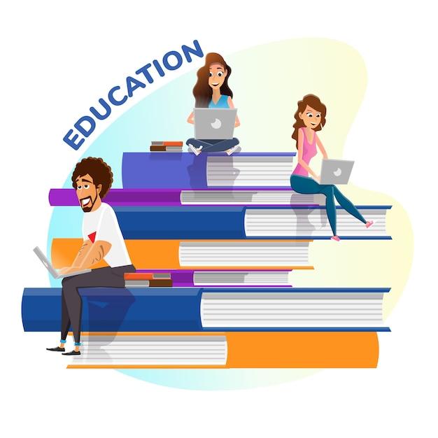 Книги стопка и счастливый tiny people образование плакат Premium векторы