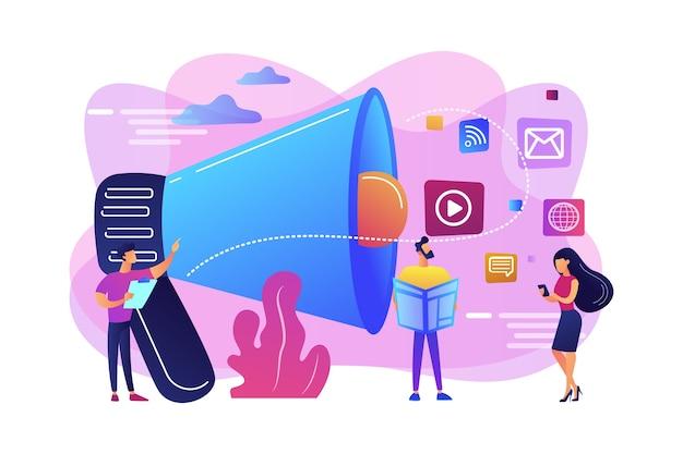 Крошечный человек, менеджер по маркетингу с мегафоном и продвижением рекламы. push-реклама, традиционная маркетинговая стратегия, концепция прерывания маркетинга. Бесплатные векторы