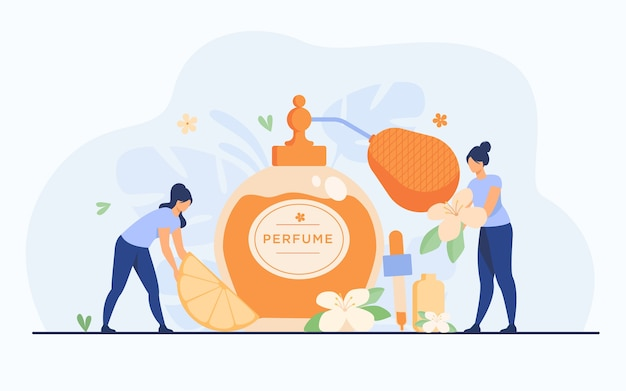 Tiny perfumers creating citrus and flower fresh fragrance, holding blossom and lemon slice near glass flask. vector illustration for perfumery shop and aroma concept. Free Vector