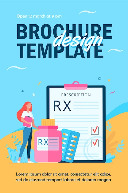 Tiny pharmacist standing near rx prescription flyer template Free Vector