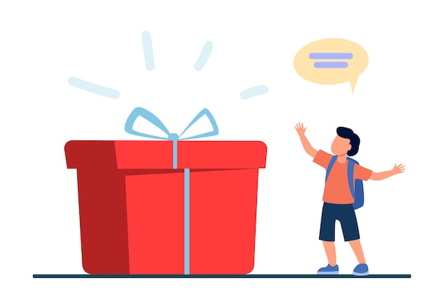 巨大なギフトボックスの近くに立っている小さな生徒。現在、驚き、少年フラットベクトルイラスト。誕生日と休日 無料ベクター