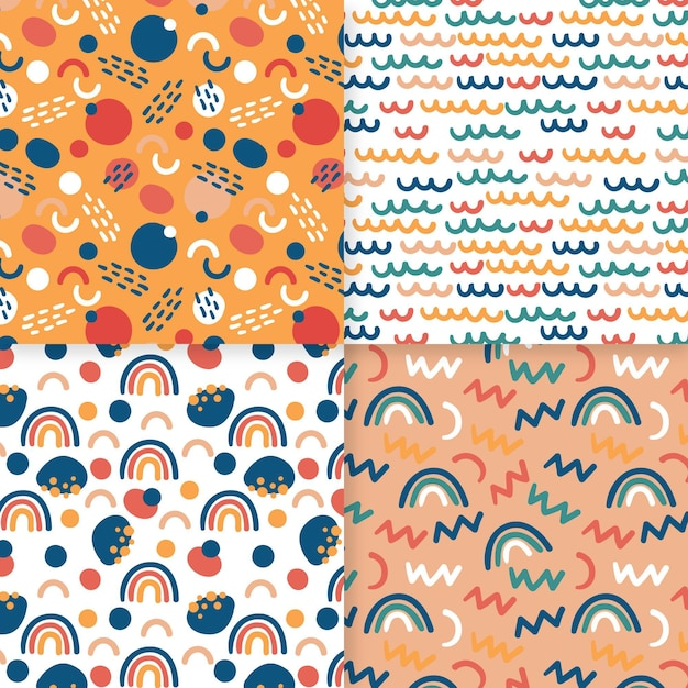Tiny rainbows abstract hand drawn pattern template Free Vector