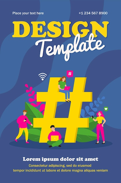 Tiny social media users with gadgets and huge hashtag. group of people using laptops and smartphone poster Premium Vector