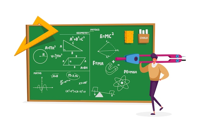 Tiny teacher male character holding huge compass stand at chalkboard Premium Vector
