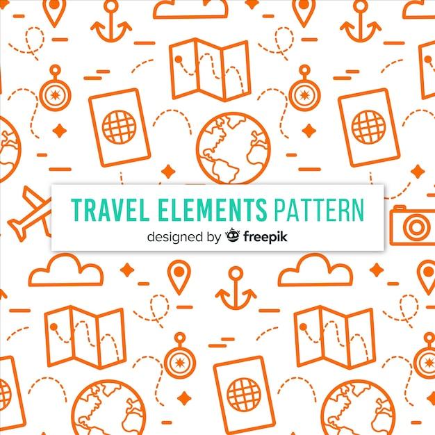 Tiny travel elements background Free Vector