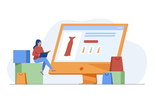 Piccola donna che sceglie l'abito nel negozio online tramite laptop. computer, borsa, vestiti piatta illustrazione vettoriale. shopping e tecnologia digitale Vettore gratuito