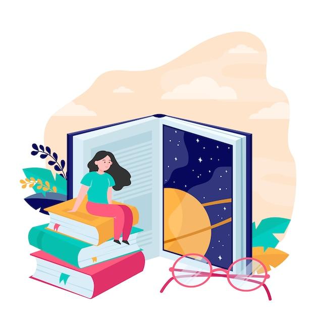 Крошечная женщина сидит на огромной книге плоской векторной иллюстрации Бесплатные векторы