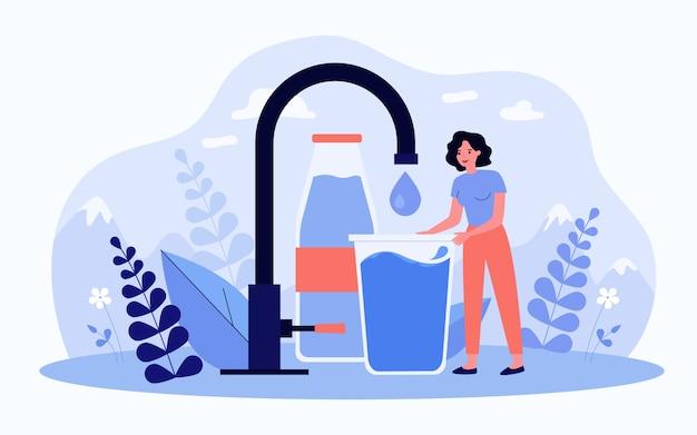 Крошечная женщина принимает плоскую векторную иллюстрацию чистой чистой воды Premium векторы