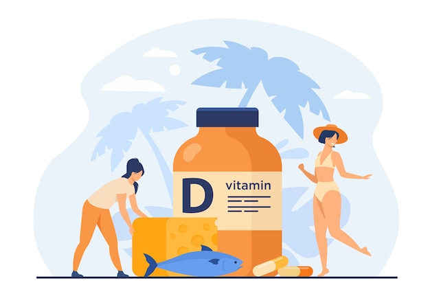 Tiny women eating fatty fish, vitamin d, cheese and sunbathing flat vector illustration. cartoon ladies using food supplements for deficiency reduction. wellbeing and health concept Free Vector