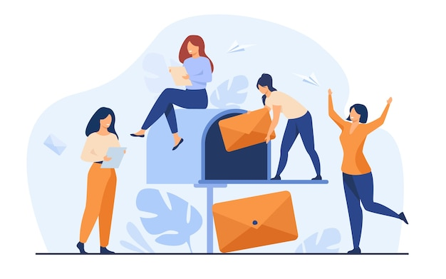 Tiny women getting mail from mailbox flat vector illustration. cartoon people reading newsletter or social news. marketing and mail service for business concept Free Vector