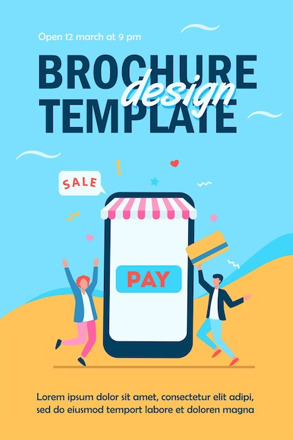 Tiny young guys paying with plastic card via mobile app flyer template Free Vector