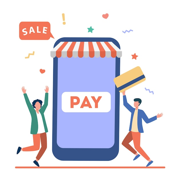 モバイルアプリを介してプラスチックカードで支払う小さな若い男。スマートフォン、オンライン、ストアフラットベクトルイラスト。ショッピングとデジタル技術 無料ベクター