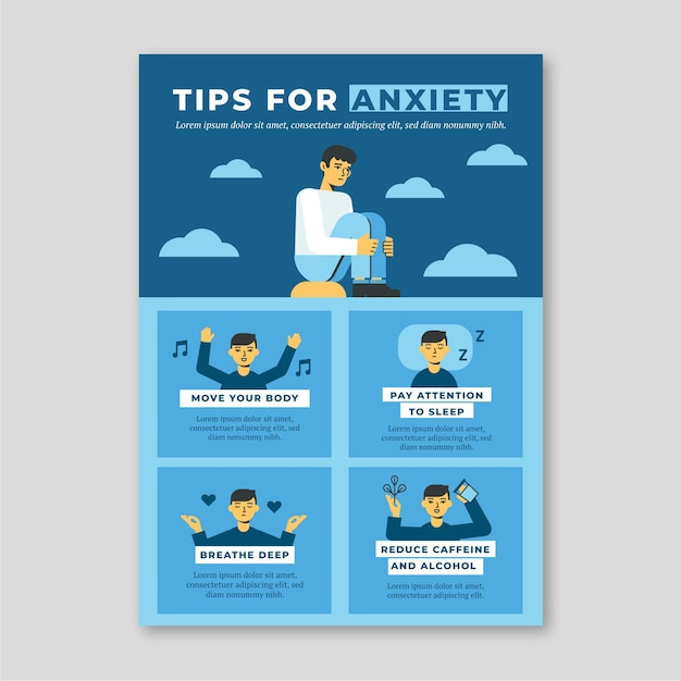 Tips for anxiety infographic Free Vector