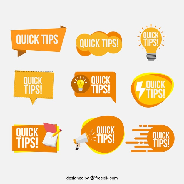 Tips badges collection in flat style Free Vector