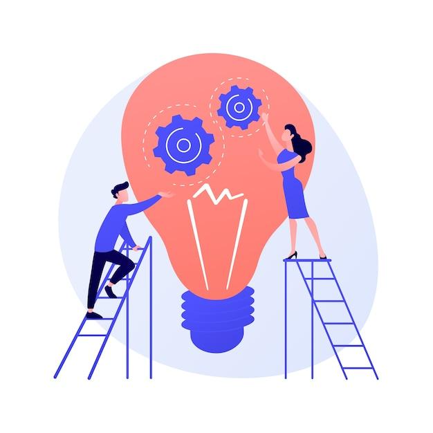Suggerimenti e idee creative. elemento di design piatto isolato innovazione aziendale. soluzione dei problemi, consigli, brainstorming. illustrazione di concetto di pensiero del personaggio maschile Vettore gratuito