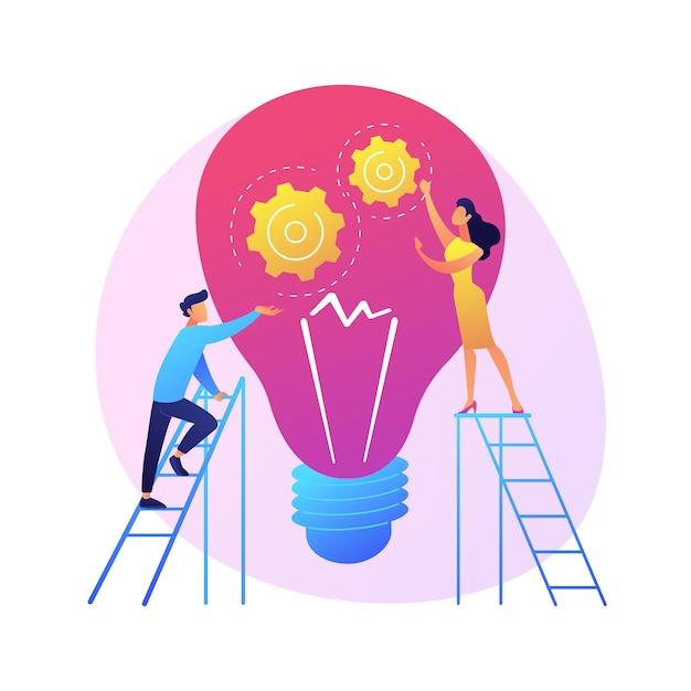 Suggerimenti e idee creative. elemento di design piatto isolato innovazione aziendale. soluzione dei problemi, consigli, brainstorming. pensiero del personaggio maschile. Vettore gratuito