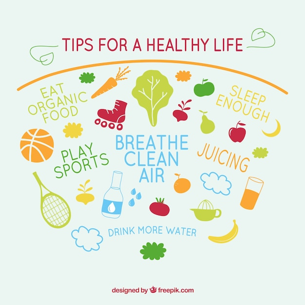 tips for healthy life vector vector free download