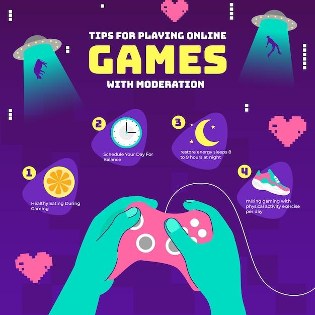 Советы по игре в онлайн игры с модерацией Бесплатные векторы