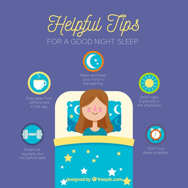 Tips for a good night sleep Free Vector