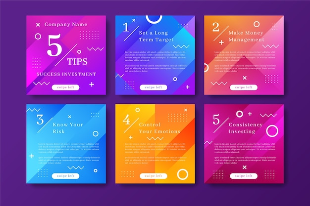 Tips instagram post collection with memphis effect Premium Vector