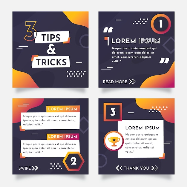 Tips instagram post collection Free Vector