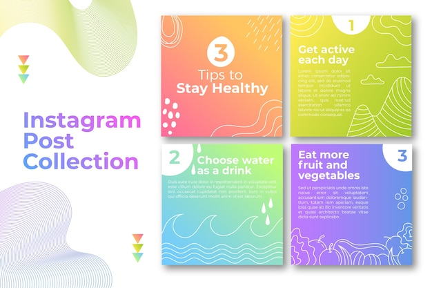 Tips instagram post pack Free Vector