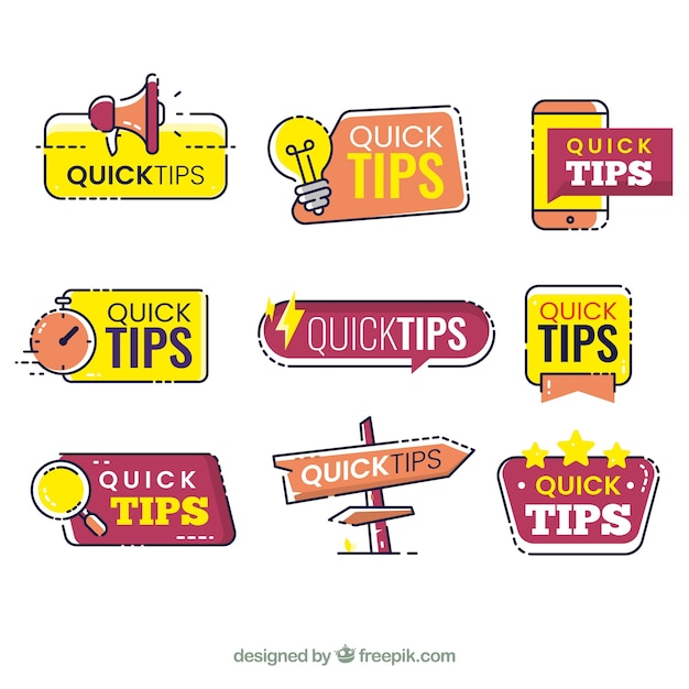 Tips labels collection in flat style Free Vector