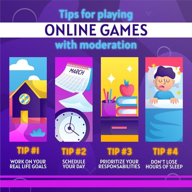 ビデオゲームをプレイするのに十分な時間を費やす方法のヒント 無料ベクター