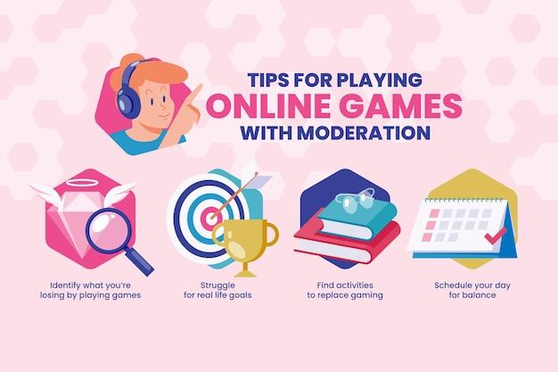 Suggerimenti per giocare ai giochi online con moderazione Vettore gratuito