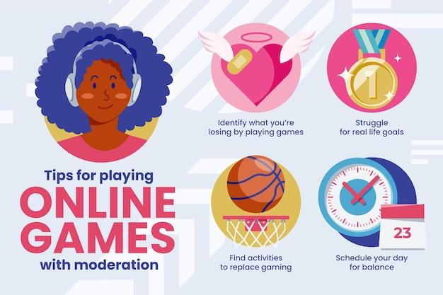 Suggerimenti per giocare ai videogiochi con moderazione Vettore gratuito