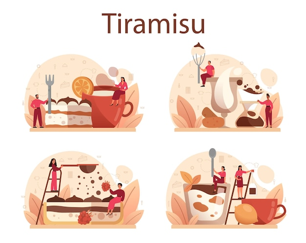 Tiramisu dessert set. people cooking delicious italian cake. sweet slice of restaurant bakery. isolated Premium Vector