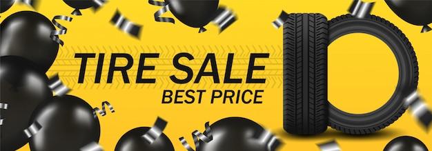 Продажа шин tirbanner с автомобильными шинами и черными воздушными шарами и конфетти на желтом фоне Premium векторы