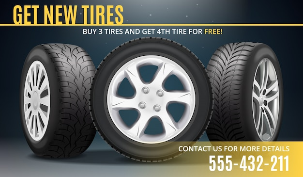 Tire advertising realistic poster Free Vector