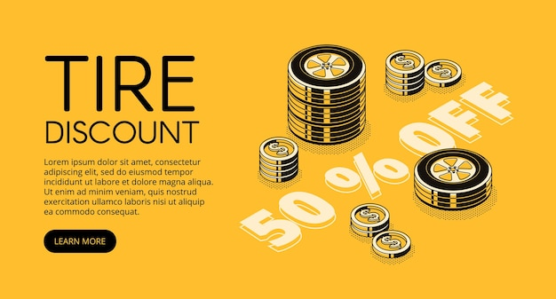 Tire discount illustration of car store or replacement and fitting service. Free Vector